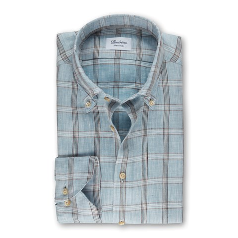 Light Blue Check Linen Fitted Body Shirt