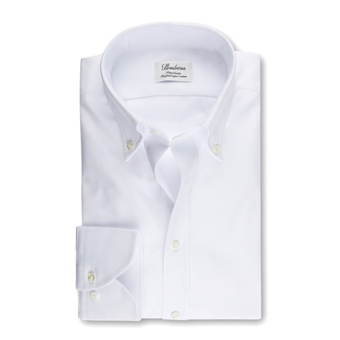 White Fitted Body Oxford Shirt