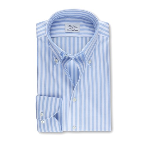 Blue Striped Fitted Body Oxford Shirt