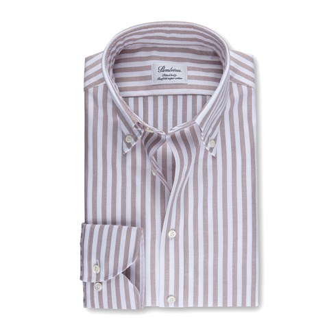 Beige Striped Fitted Body Oxford Shirt
