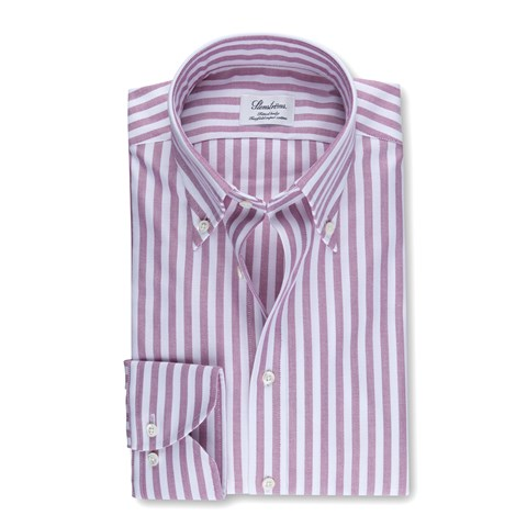 Pink Striped Fitted Body Oxford Shirt