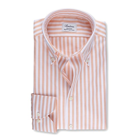 Orange Striped Fitted Body Oxford Shirt