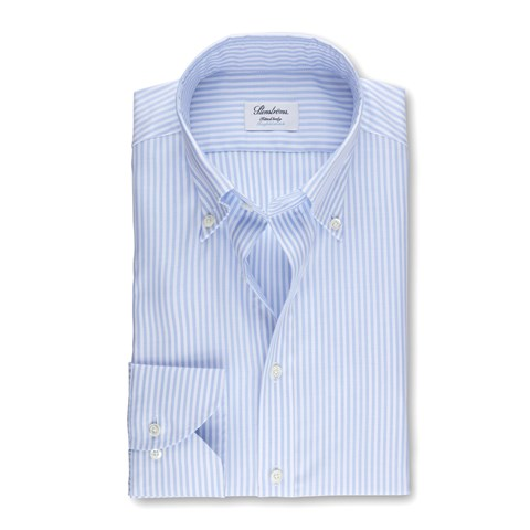 Striped Fitted Body Shirt In Oxford Stretch, Extra Long Sleeves