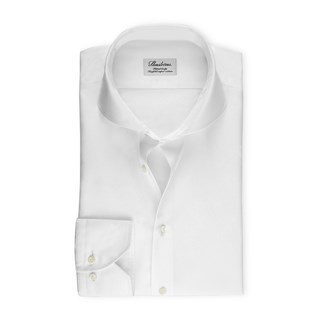 White Fitted Body Shirt In Superior Twill
