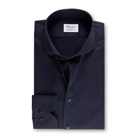 Navy Fitted Body Shirt In Superior Twill