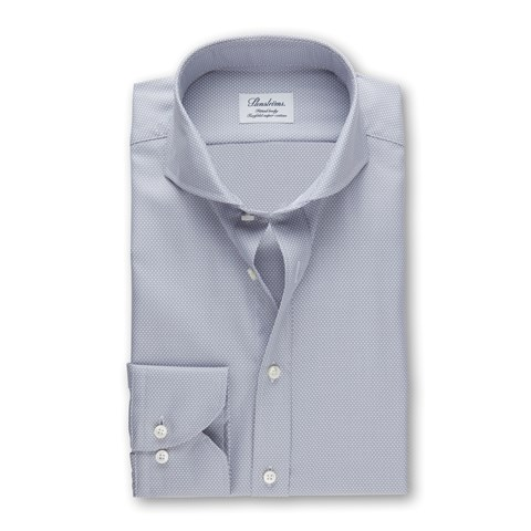 Light Grey Textured Fitted Body Shirt