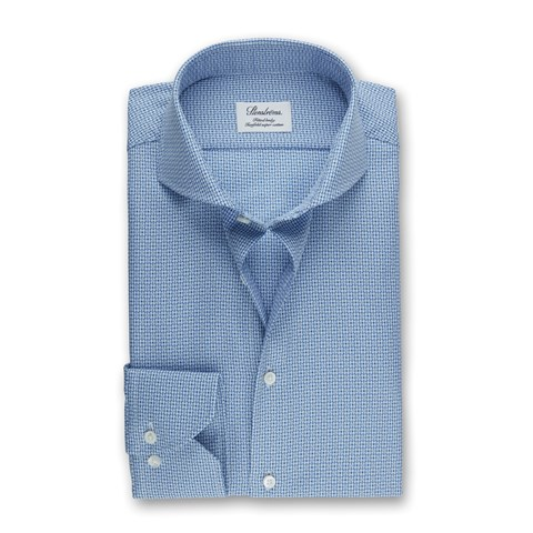 Blue Textured Fitted Body Shirt