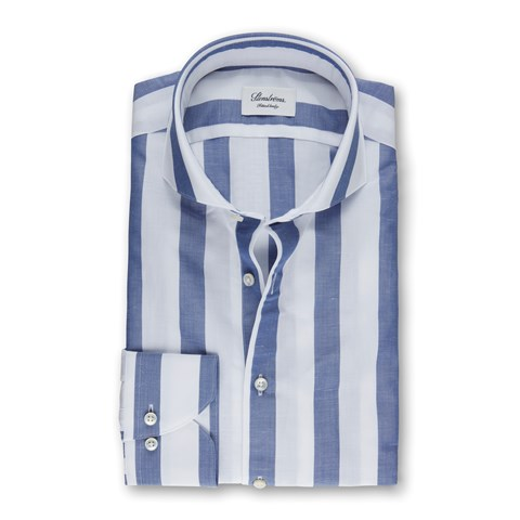 Blue/White Block Striped Fitted Body Shirt