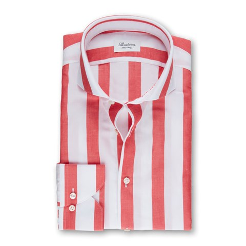Red/White Block Striped Fitted Body Shirt