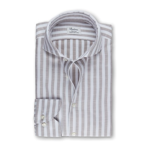 Stone Grey Striped Textured Fitted Body Shirt