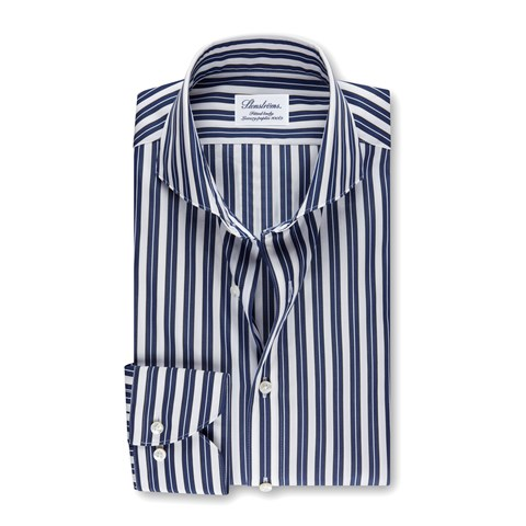 White/Navy Striped Fitted Body Shirt