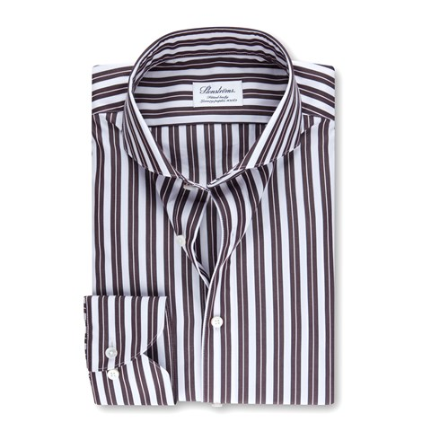 Brown Striped Fitted Body Shirt