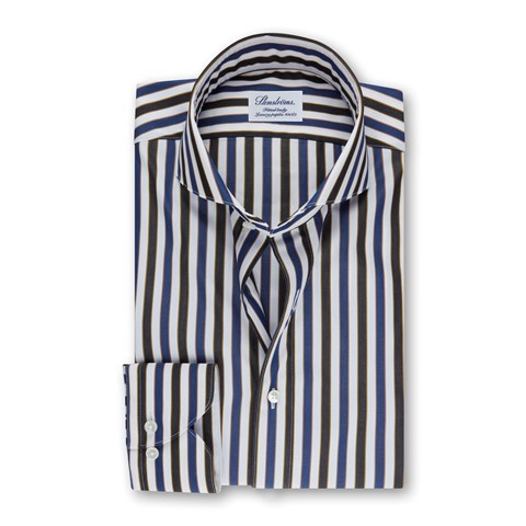 Striped Fitted Body Shirt in Luxury Poplin