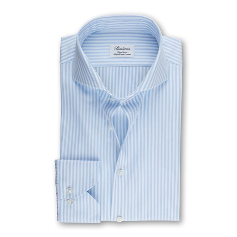 Fitted Body Shirt Striped Light Blue