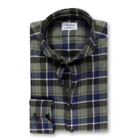 Fitted Body Flannel Shirt Checked Green