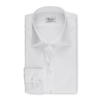 White Fitted Body Shirt With Kent Collar