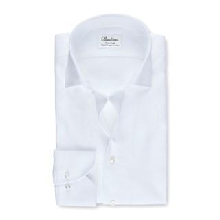 White Fitted Body Shirt With One Piece Collar