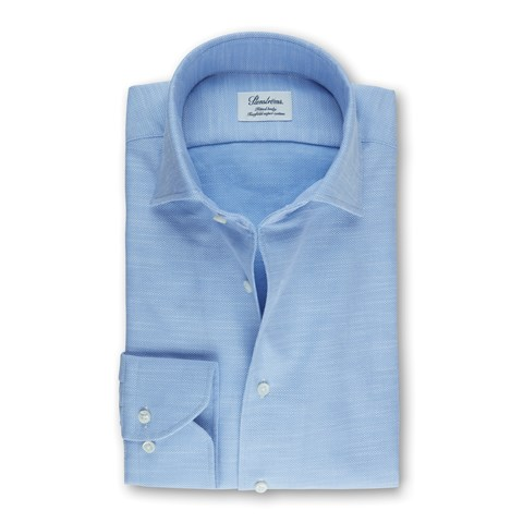 Light Blue Fitted Body Shirt With One Piece Collar