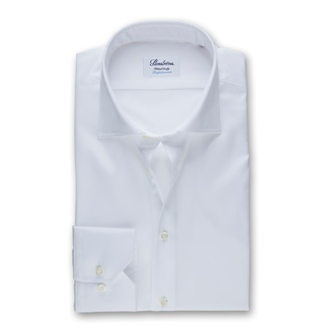 White Fitted Body Shirt, Stretch