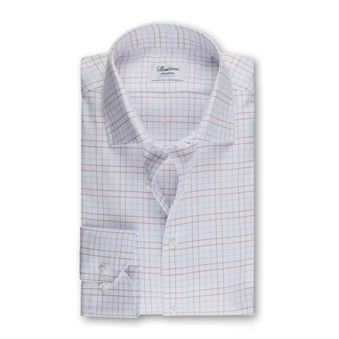 White Checked Fitted Body Shirt