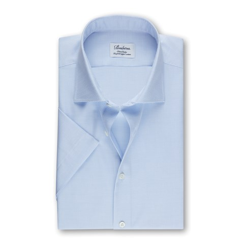 Light Blue Fitted Body Shirt, Short Sleeves