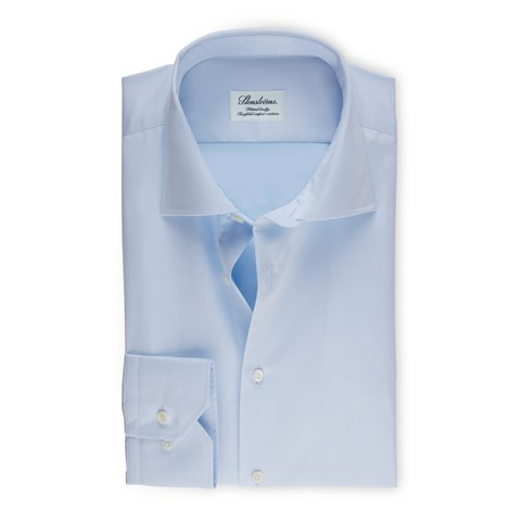 Fitted Body Shirt In Superior Twil lLight Blue