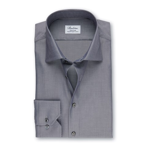 Lustrous Grey Fitted Body Shirt In Superior Twill