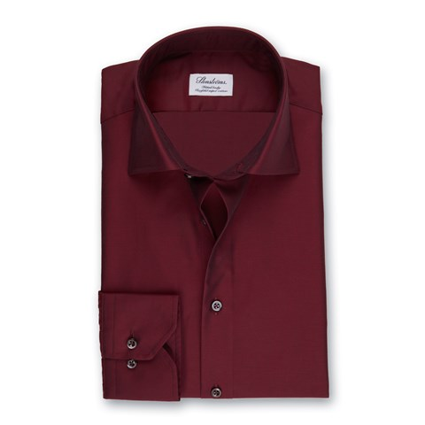 Lustrous Red Fitted Body Shirt In Superior Twill