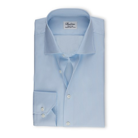 Light Blue Pinstriped Fitted Body Shirt
