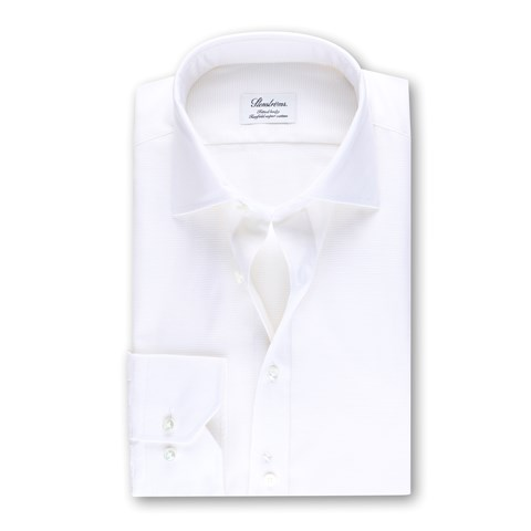Textured Fitted Body Shirt Off-White