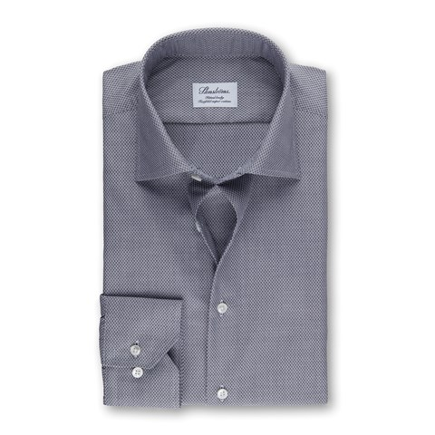 Grey Micro Patterned Fitted Body Shirt