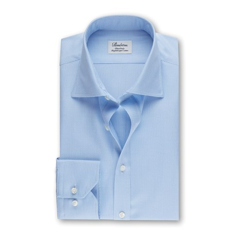Fitted Body Shirt Textured Light Blue