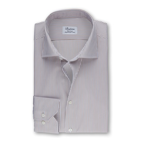 Nougat Striped Fitted Body Shirt