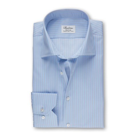 Blue And Grey Striped Fitted Body Shirt