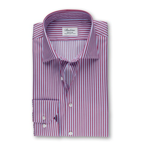 Raspberry Red And Blue Striped Fitted Body Shirt