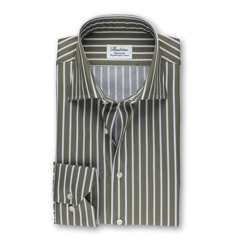 Green Striped Fitted Body Shirt