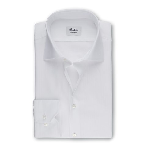 White Textured Fitted Body Shirt