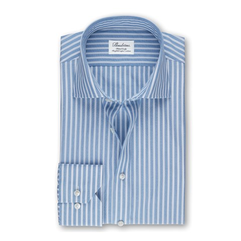 Light Blue Striped Fitted Body Shirt