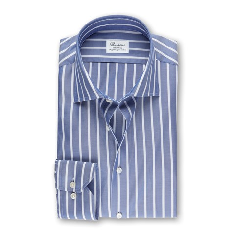 Blue/White Striped Fitted Body Shirt