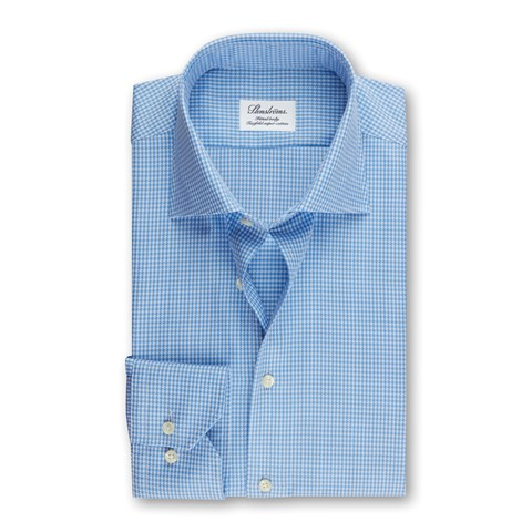 Light Blue Houndstooth Fitted Body Shirt