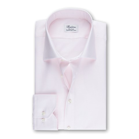 Light Pink Micro Checked Fitted Body Shirt