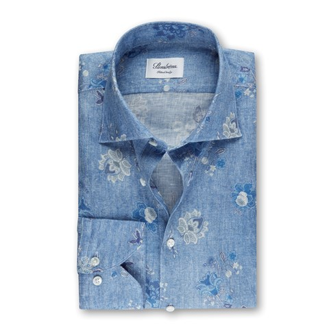Light Blue Floral Linen Fitted Body Shirt