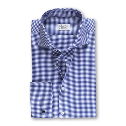 Houndstooth Checked Fitted Body Shirt Blue
