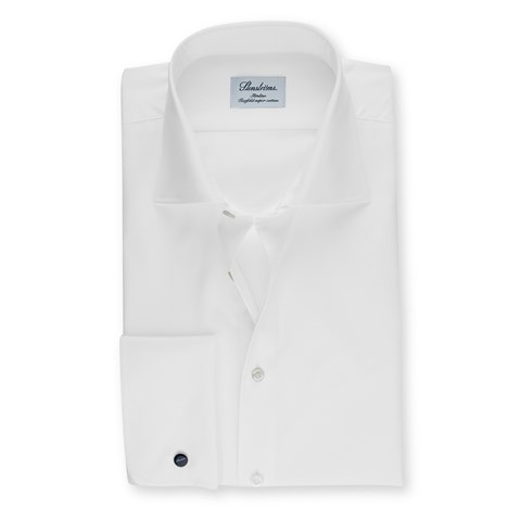 White Fitted Body Shirt With French Cuffs, Extra Long Sleeves