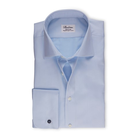Blue Fitted Body Shirt With French Cuffs, Extra Long Sleeves