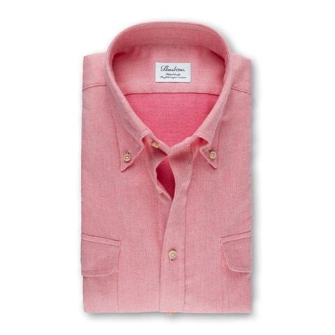 Pink Flannel Fitted Body Shirt With Double Pockets