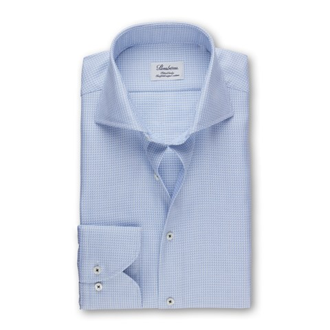 Light Blue Patterned Fitted Body Shirt
