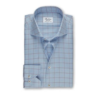 Light Blue Fitted Body Shirt With Pattern