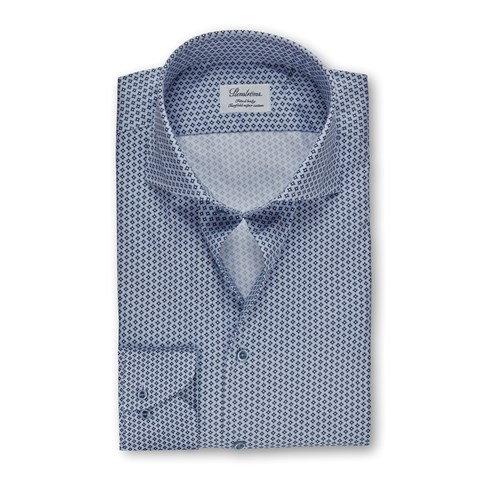 Blue Geometric Patterned Fitted Body Shirt