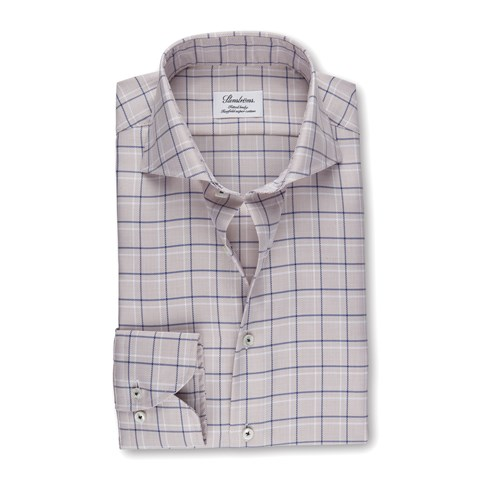 Beige Check Fitted Body Shirt
